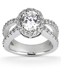 Round diamond halo with wide split shank engagement ring
