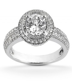 Brilliant cut with pavé halo engagement ring