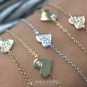 gold and diamond Heart bracelets