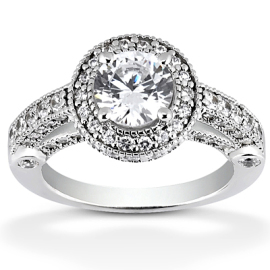 round halo engagement ring with fancy detail